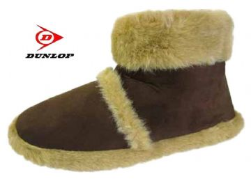 Men's Dunlop Furry Boot Slippers BROWN